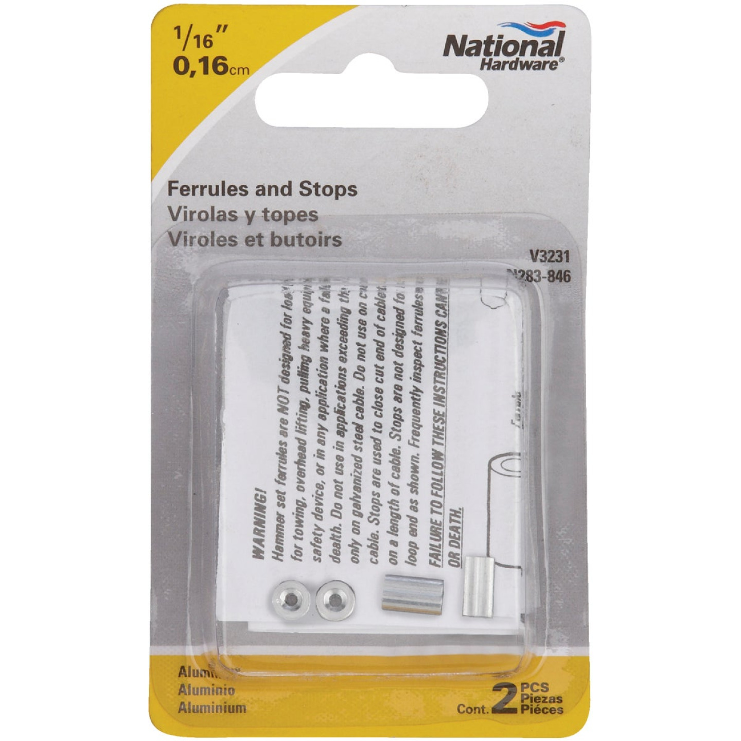 National 1/16 In. Aluminum Garage Door Ferrule & Stop Kit Image 2