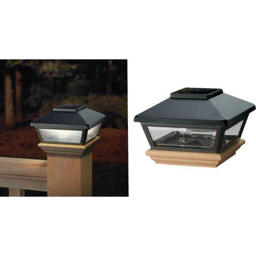 Deckorators 4 In. x 4 In. Black Solar Post Cap with Cedar Base