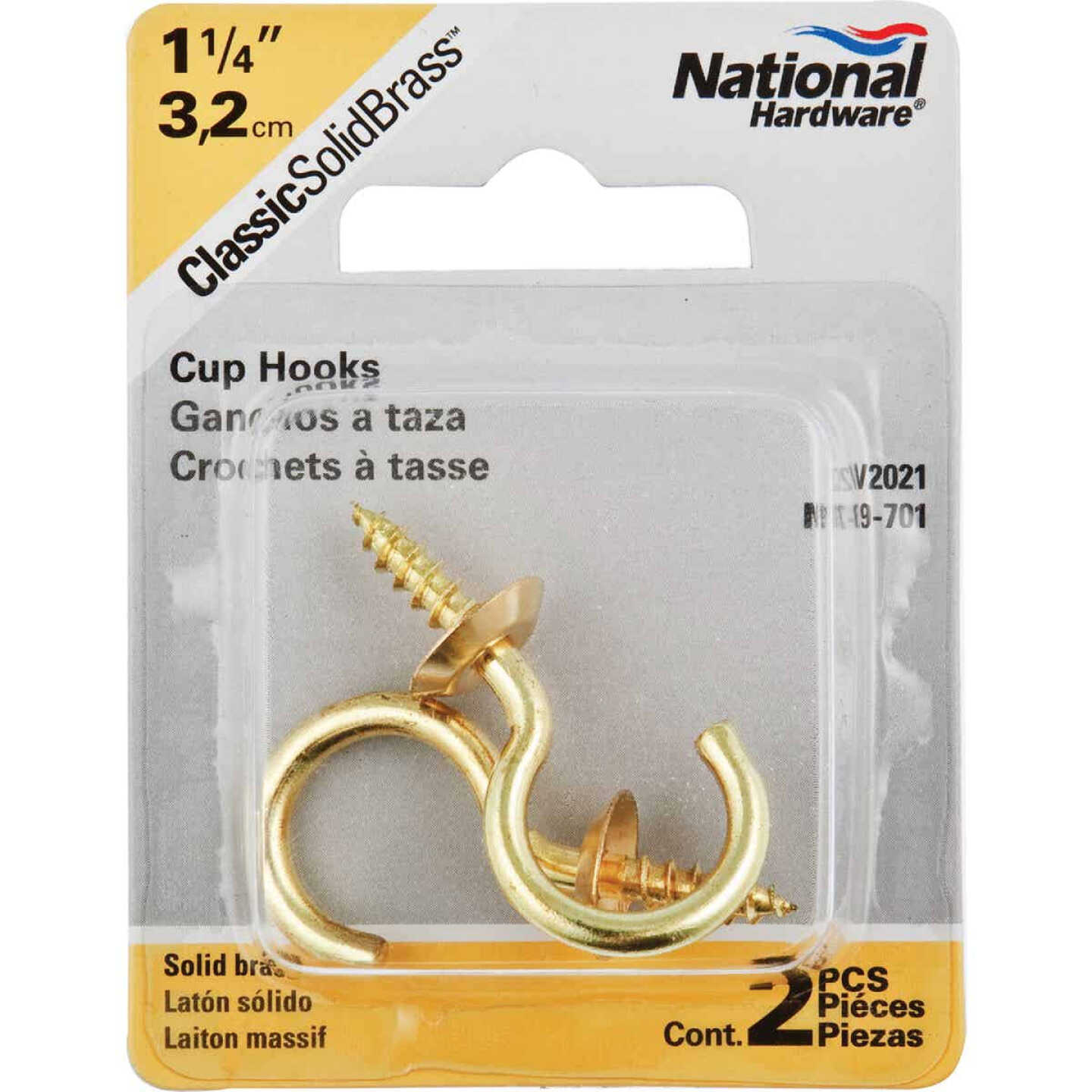 National V2021 1-1/4 In. Solid Brass Series Cup Hook (2 Count) Image 2