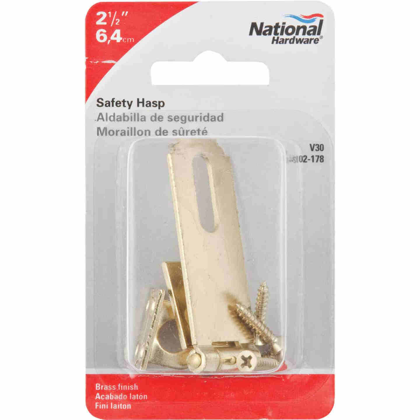 National 2-1/2 In. Brass Non-Swivel Safety Hasp Image 2