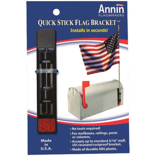 Annin Quick Stick 1-Position 5/16 In. Plastic Black Flag Pole Bracket